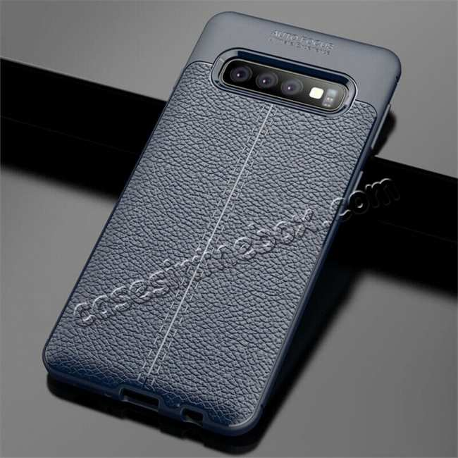 wholesale For Samsung Galaxy S10 Shockproof TPU Leather Back Case Cover - Navy Blue