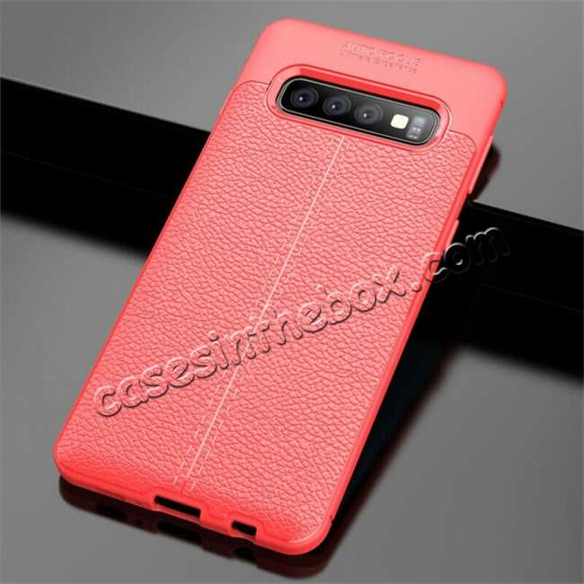 wholesale For Samsung Galaxy S10 Plus 9Silicone Rubber Leather TPU Slim Cover Case - Red