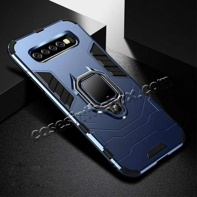 wholesale For Samsung Galaxy S10 Plus Hybrid Magnetic Ring Holder Hard Case Cover - Navy
