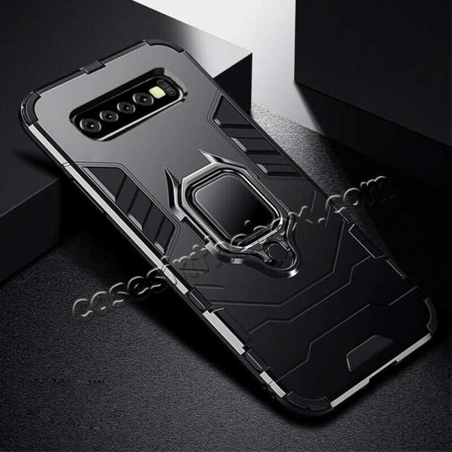 wholesale For Samsung Galaxy S10 Plus Hybrid Magnetic Ring Holder Hard Case Cover - Black