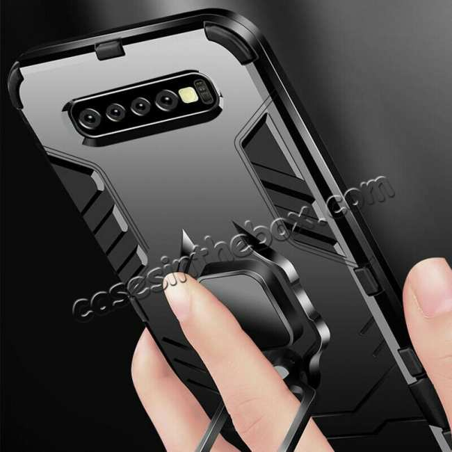 top quality For Samsung Galaxy S10 Plus Hybrid Magnetic Ring Holder Hard Case Cover - Black