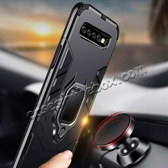 discount Shockproof Armor Ring Magnetic Case Cover For Samsung Galaxy S10 - Black