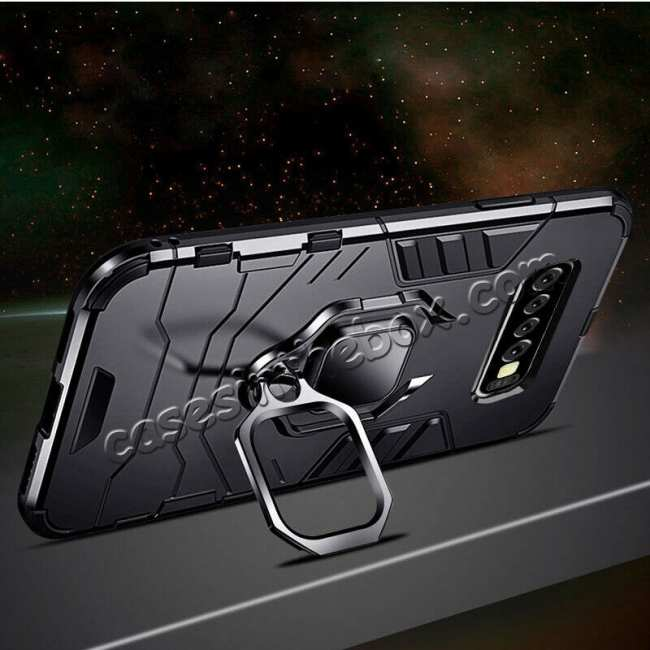 cheap Shockproof Armor Ring Magnetic Case Cover For Samsung Galaxy S10 - Black