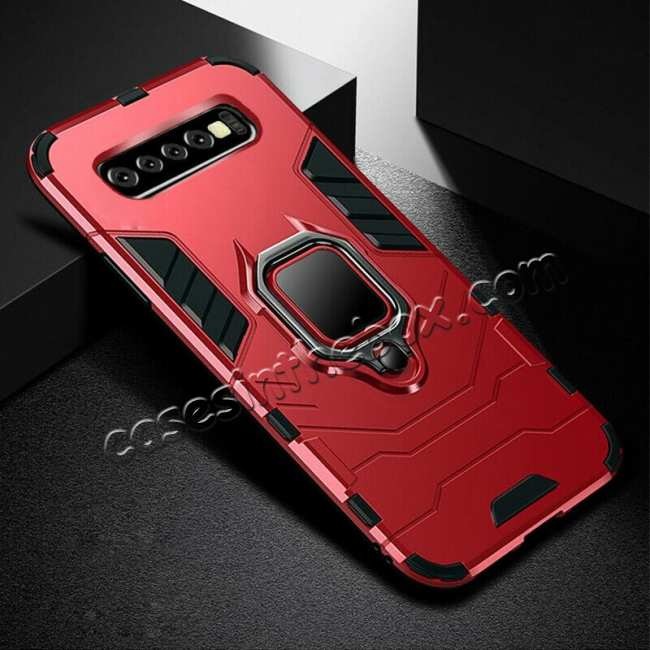 wholesale Magnetic Metal Ring Case For Samsung Galaxy S10e Hybrid Shockproof Cover - Red