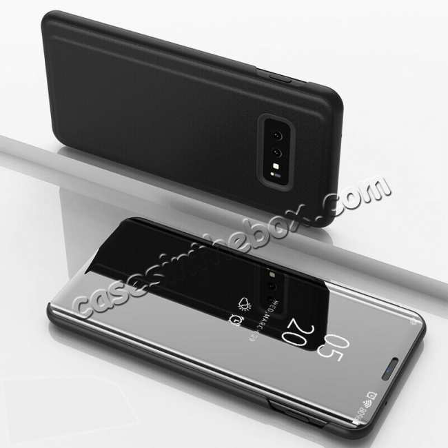 discount For Samsung Galaxy S10E Smart Clear Mirror Leather Stand Case Cover - Black