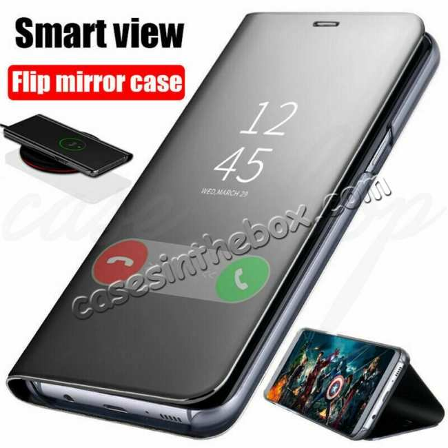 cheap For Samsung Galaxy S10E Smart Clear Mirror Leather Stand Case Cover - Black