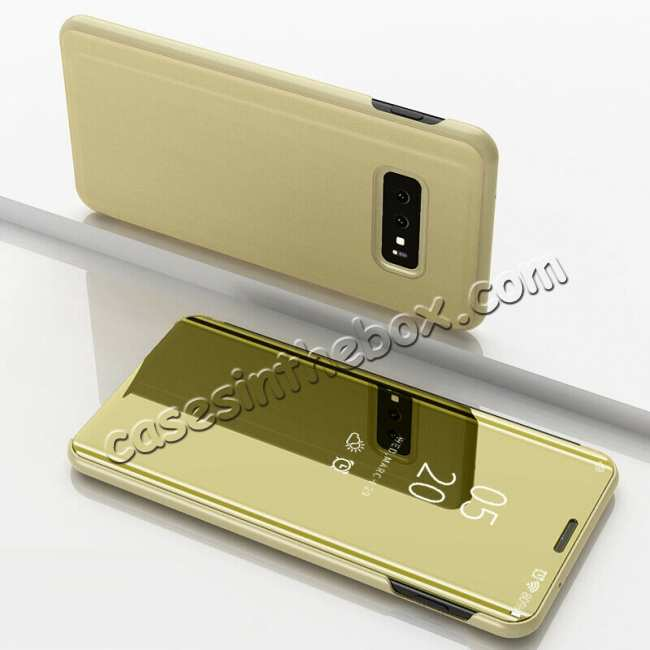 discount For Samsung Galaxy S10E Smart Clear Mirror Leather Stand Case Cover - Gold