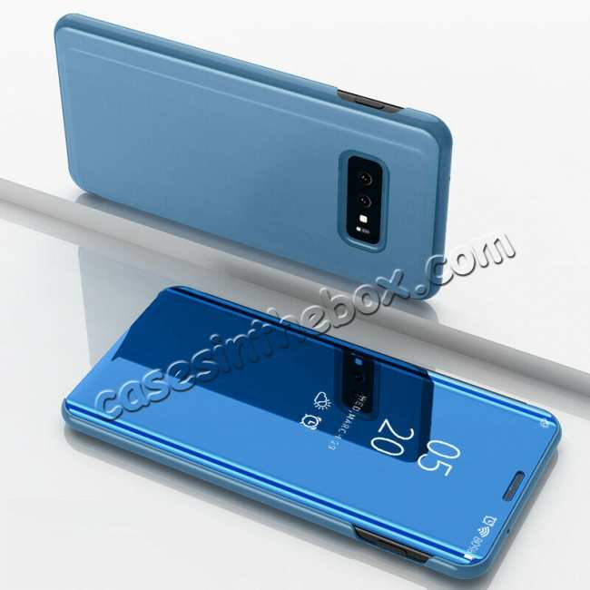 discount For Samsung Galaxy S10 Plus Smart Clear Mirror Leather Stand Case Cover - Sky Blue