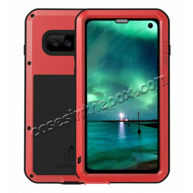 wholesale For Samsung Galaxy S10E Gorilla Glass Aluminum Metal Case Cover - Red