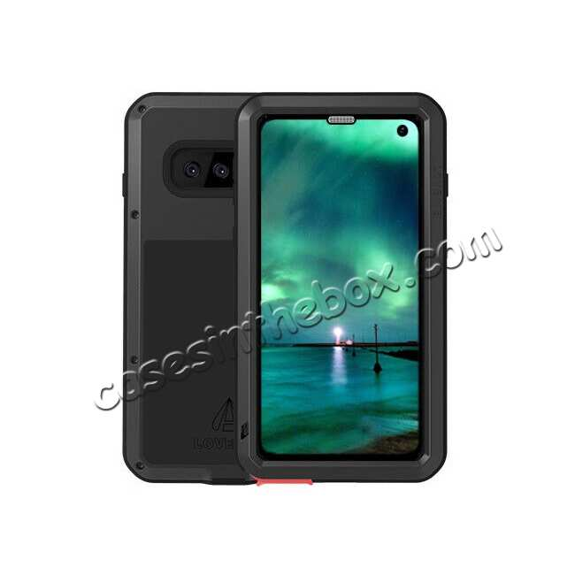 wholesale For Samsung Galaxy S10E Gorilla Glass Aluminum Metal Case Cover - Black