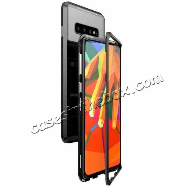 wholesale Case For Samsung Galaxy S10 Plus Magnetic Adsorption Metal Frame + Tempered Glass Back Cover - Black
