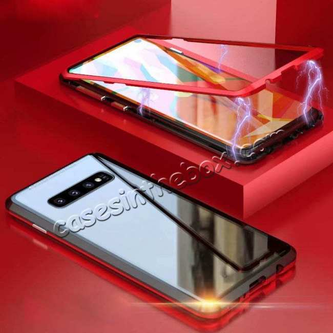 discount Case For Samsung Galaxy S10 Plus Magnetic Adsorption Metal Frame + Tempered Glass Back Cover - Black&Red
