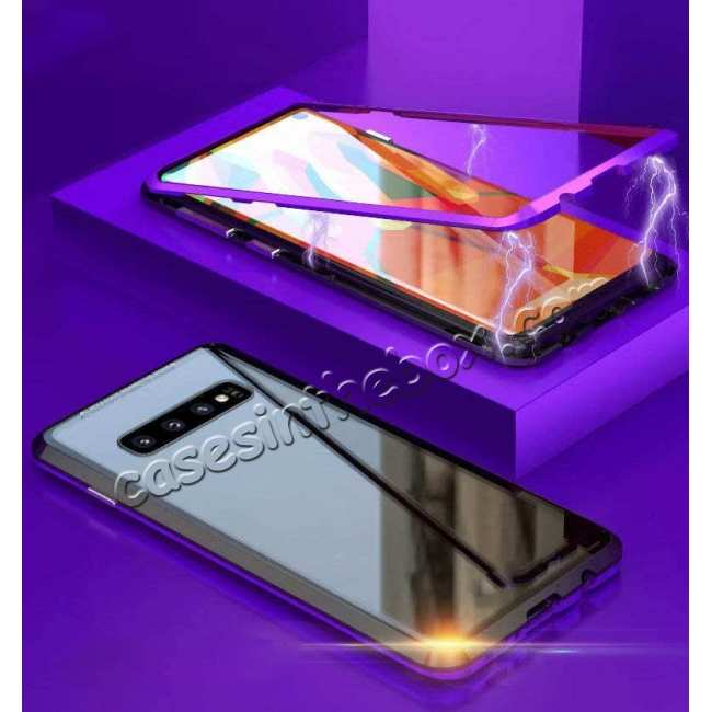 discount Case For Samsung Galaxy S10 Plus Magnetic Adsorption Metal Frame + Tempered Glass Back Cover - Blakc&Purple