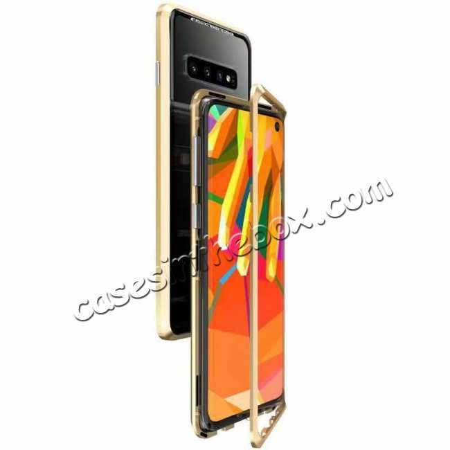 wholesale Case For Samsung Galaxy S10 Plus Magnetic Adsorption Metal Frame + Tempered Glass Back Cover - Gold