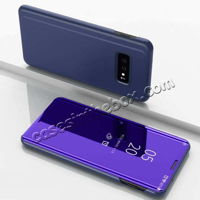 discount For Samsung Galaxy S10 Plus Smart Clear Mirror Leather Stand Case Cover - Purple&Blue