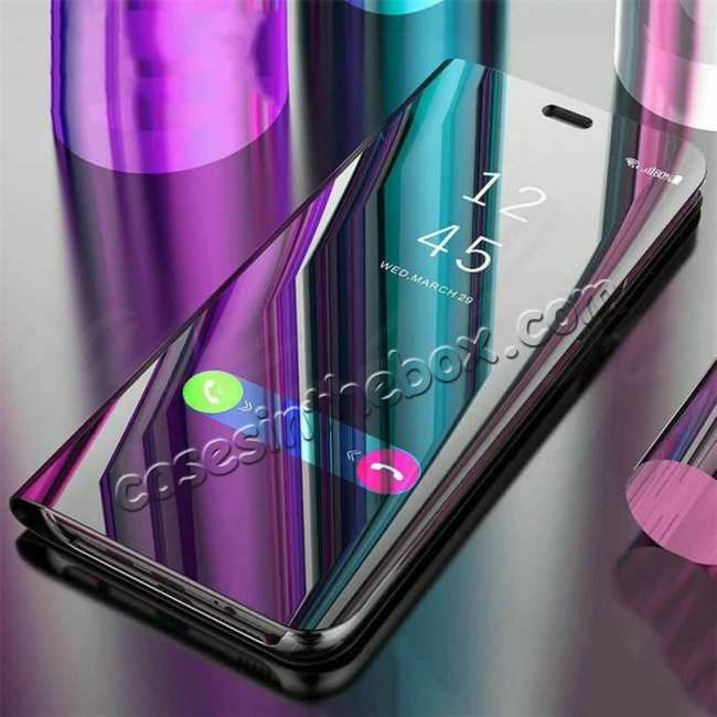cheap For Samsung Galaxy S10 Smart Clear Mirror Leather Stand Case Cover - Purple&Blue