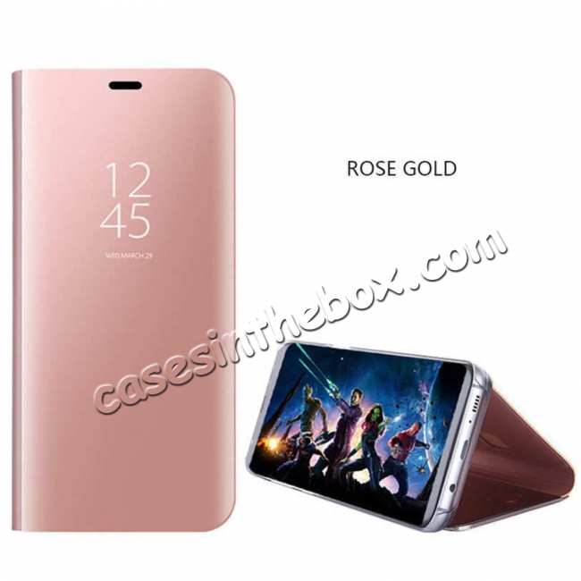 wholesale For Samsung Galaxy S10 Smart Clear Mirror Leather Stand Case Cover - Rose Gold