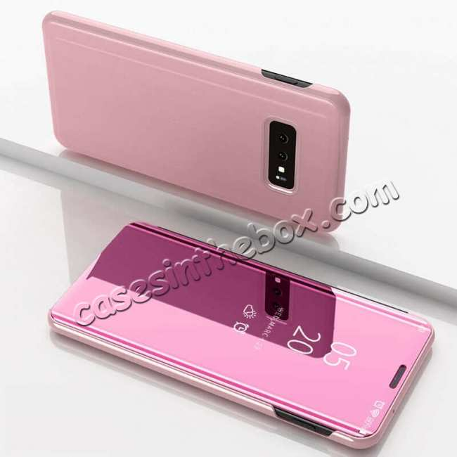 discount For Samsung Galaxy S10 Smart Clear Mirror Leather Stand Case Cover - Rose Gold