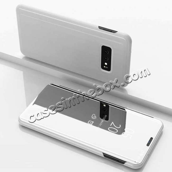 discount For Samsung Galaxy S10 Smart Clear Mirror Leather Stand Case Cover - Silver
