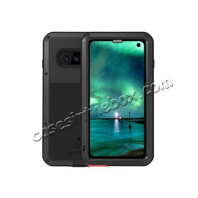 wholesale LOVE MEI For Samsung S10 Plus Aluminum Metal+Gorilla Glass Military Case Cover - Black