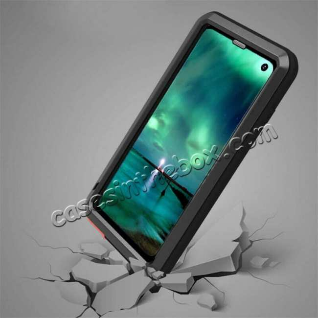 cheap LOVE MEI For Samsung S10 Plus Aluminum Metal+Gorilla Glass Military Case Cover - Black