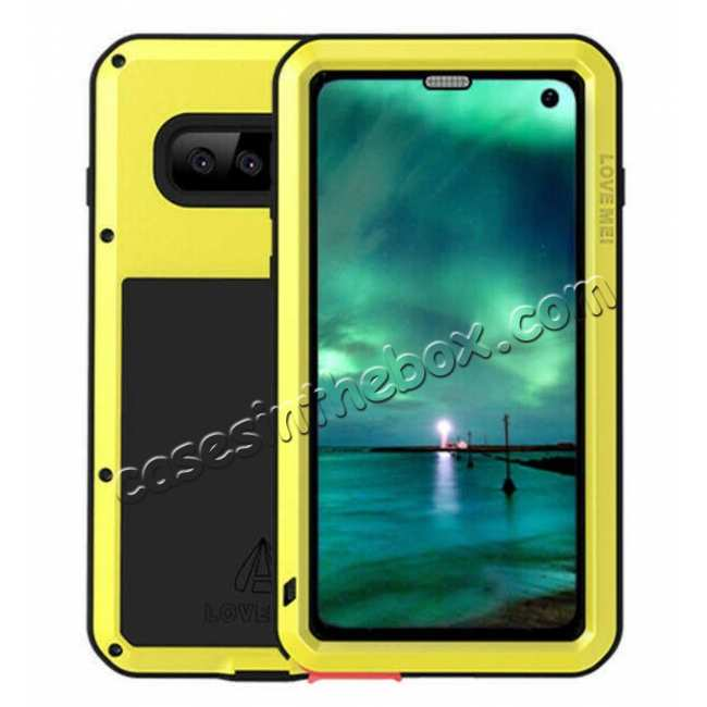 wholesale LOVE MEI For Samsung S10 Plus Aluminum Metal+Gorilla Glass Military Case Cover - Yellow