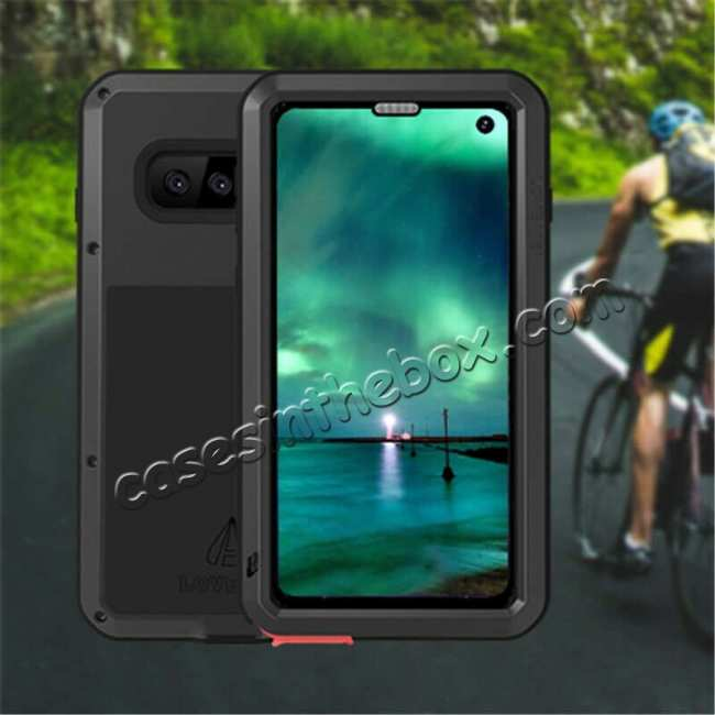 top quality Waterproof Shockproof Metal Aluminum Gorilla Glass Case For Samsung Galaxy S10 - Black