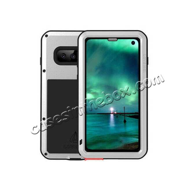 wholesale Waterproof Shockproof Metal Aluminum Gorilla Glass Case For Samsung Galaxy S10 - Silver