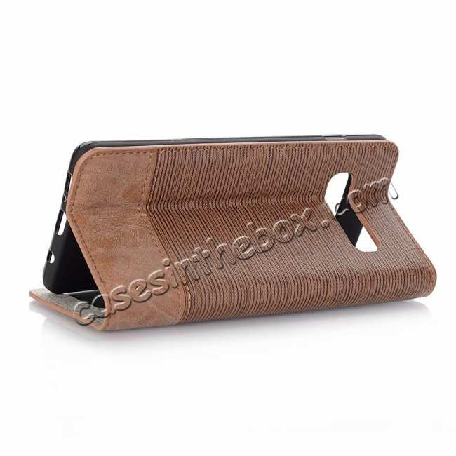 wholesale Cross Pattern Wallet Flip Leather Case for Samsung Galaxy S10 - Brown