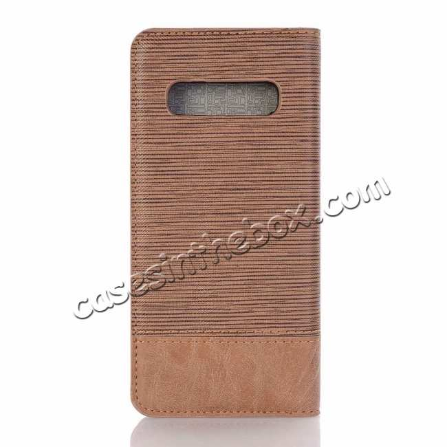 discount Cross Pattern Wallet Flip Leather Case for Samsung Galaxy S10 - Brown