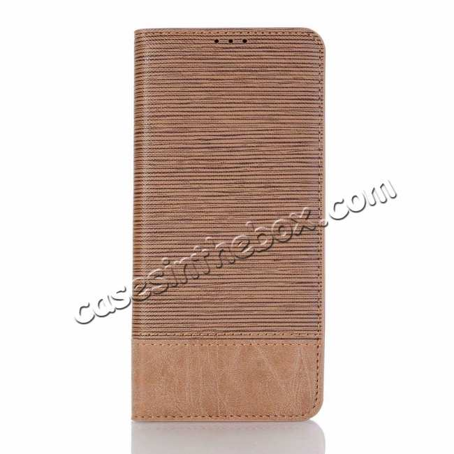 best price Cross Pattern Wallet Flip Leather Case for Samsung Galaxy S10 - Brown