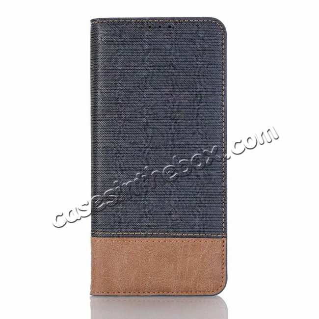 top quality Cross Pattern Wallet Flip Leather Case for Samsung Galaxy S10 - Dark Blue