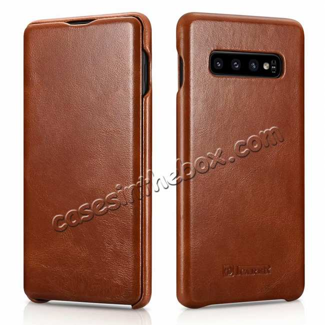 wholesale ICARER Vintage Series Genuine Leather Flip Case For Samsung Galaxy S10 / S10 Plus - Brown