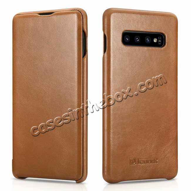 wholesale ICARER Vintage Series Genuine Leather Flip Case For Samsung Galaxy S10 - Khaki
