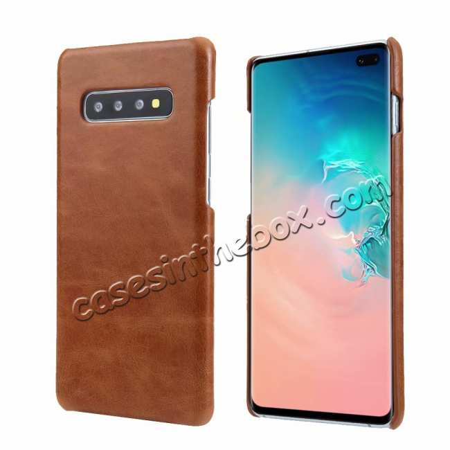wholesale Matte Genuine Leather Back Case Cover for Samsung Galaxy S10 - Brown