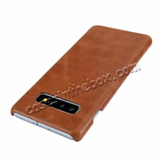 discount Matte Genuine Leather Back Case Cover for Samsung Galaxy S10 - Brown