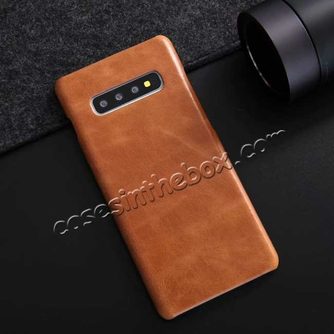 cheap Matte Genuine Leather Back Case Cover for Samsung Galaxy S10 - Brown