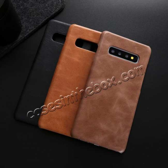 best price Matte Genuine Leather Back Case Cover for Samsung Galaxy S10 - Brown