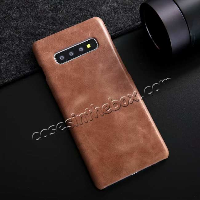 discount Matte Genuine Leather Back Case Cover for Samsung Galaxy S10 - Dark Brown