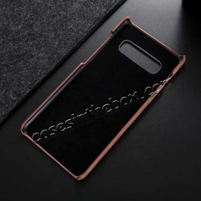 cheap Matte Genuine Leather Back Case Cover for Samsung Galaxy S10 - Dark Brown