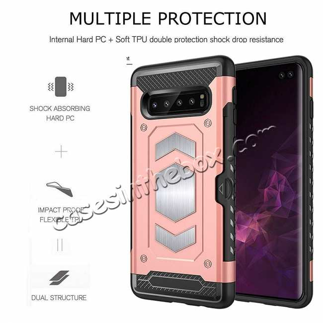 discount ID Card Slot Holder Magnetic Metal Case TPU Back Cover For Samsung Galaxy S10 - Rose Gold