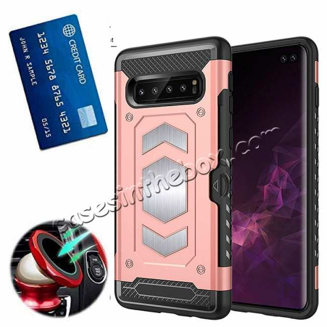 wholesale ID Card Slot Holder Magnetic Metal Case TPU Back Cover For Samsung Galaxy S10 - Rose Gold
