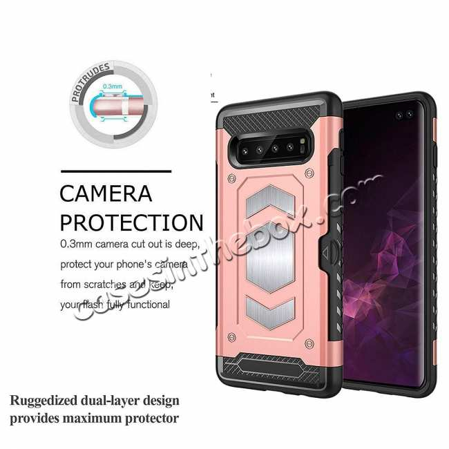 best price ID Card Slot Holder Magnetic Metal Case TPU Back Cover For Samsung Galaxy S10 - Rose Gold