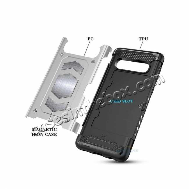 top quality ID Card Slot Holder Magnetic Metal Case TPU Back Cover For Samsung Galaxy S10 - Black