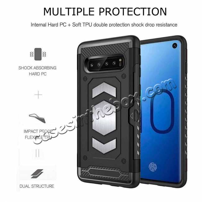discount ID Card Slot Holder Magnetic Metal Case TPU Back Cover For Samsung Galaxy S10 - Black