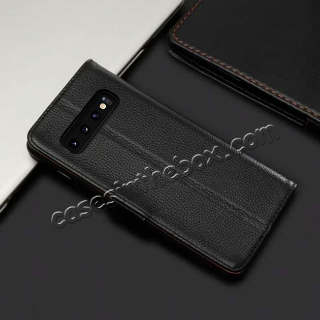 cheap Lichee Pattern Genuine cowhide leather wallet case For Samsung Galaxy S10 - Black