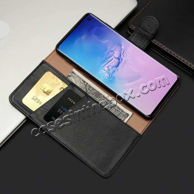 top quality Lichee Pattern Genuine cowhide leather wallet case For Samsung Galaxy S10 - Black