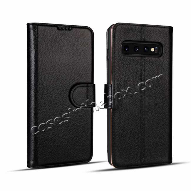 wholesale Lichee Pattern Genuine cowhide leather wallet case For Samsung Galaxy S10 - Black