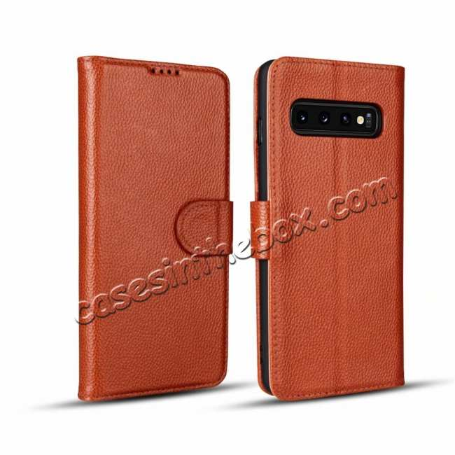 wholesale Lichee Pattern Genuine cowhide leather wallet case For Samsung Galaxy S10 - Brown