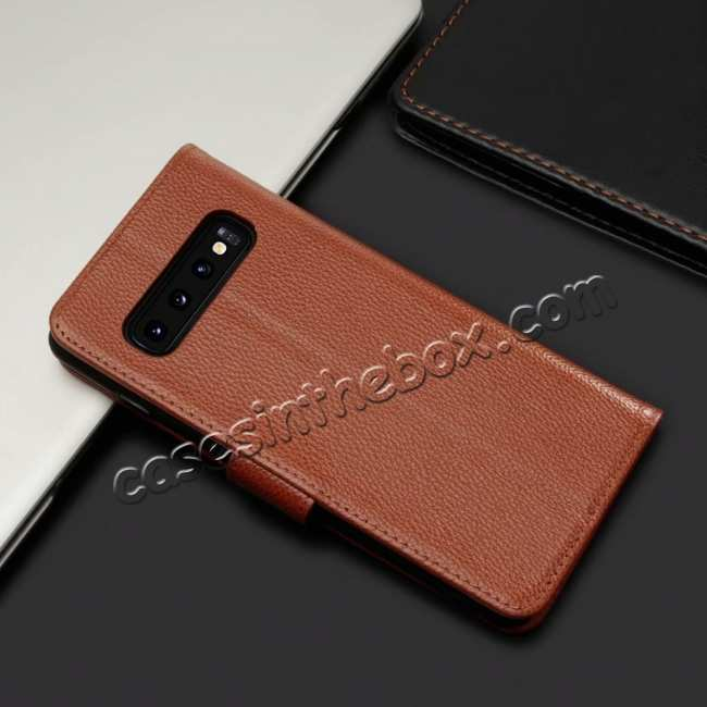 cheap Lichee Pattern Genuine cowhide leather wallet case For Samsung Galaxy S10 - Brown